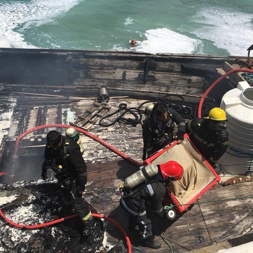 آتش سوزی یک شناور در بندرگاه کیش