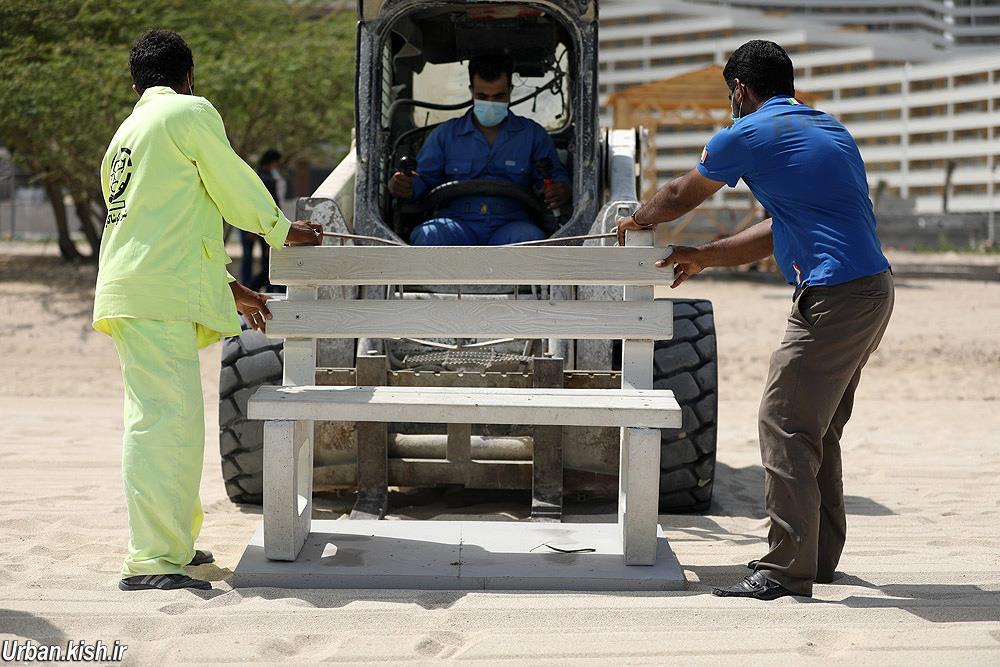 اجرای عملیات جانمایی و نصب مبلمان شهری در اسکله دامون کیش